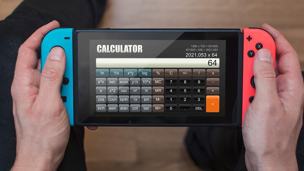 Nintendo Switch mit Taschenrechner-App auf dem Bildschirm