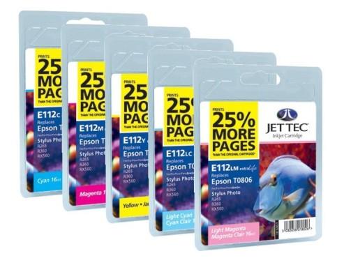 Farbpatronen: Jet Tec E112C, -M, -Y, -LC, -LM Extralife
