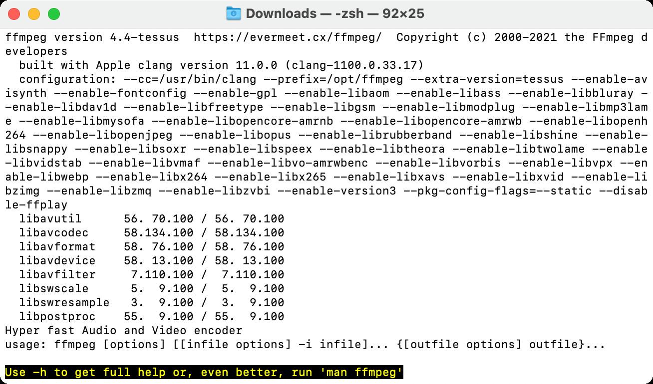 Screenshot 1 - FFmpeg (Mac)