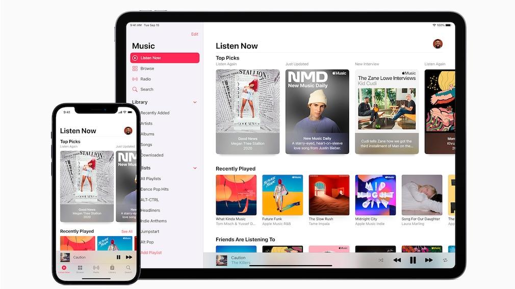 Apple Music läuft auf dem iPhone 12 und dem iPad Pro.