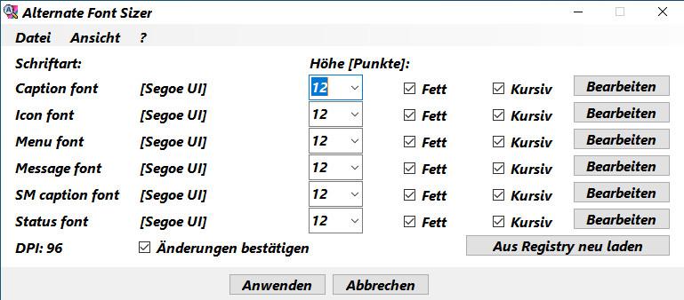 Screenshot 1 - Alternate Font Sizer