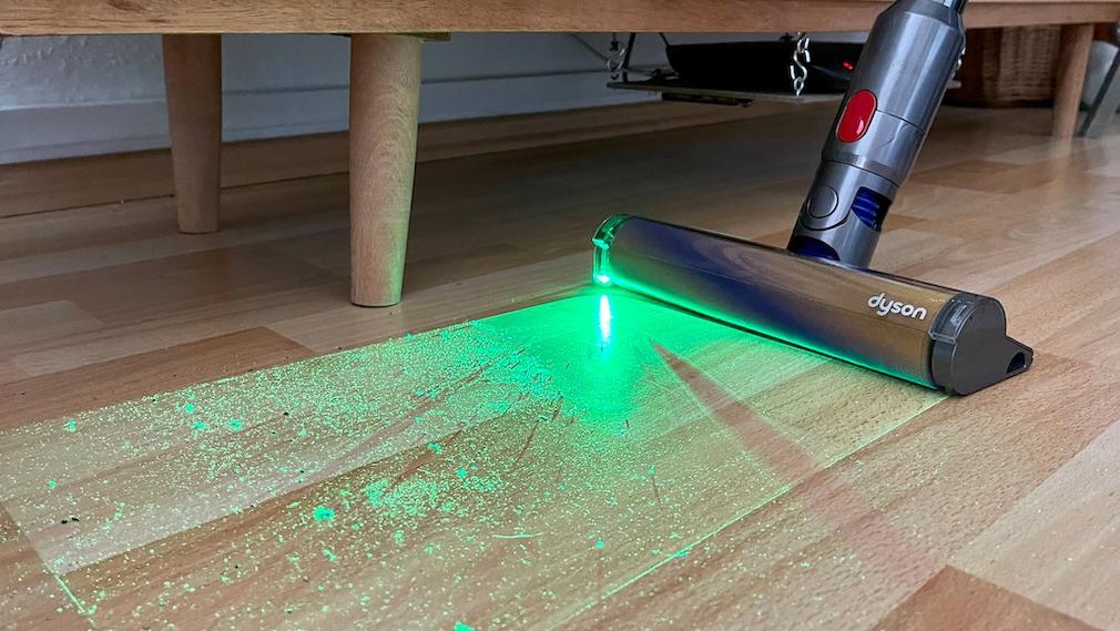 Dyson V15 Detect, Staub und Laser