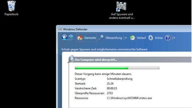 """Virenscanner programmieren: Mit vier Tipps von einfach bis komplex Der Windows Defender spürt für Sie schnell und einfach unerwünschte Software auf. Microsoft empfiehlt im Windows-7-""""Hilfe und Support""""-Fenster, """"einmal täglich eine Schnellüberprüfung zu planen.""""©COMPUTER BILD"""