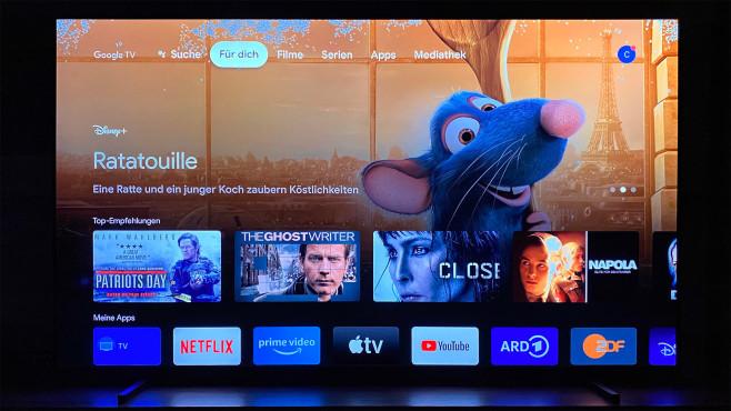 Der Sony A80J läuft auf dem Android-TV-Betriebssystem, die neue Nutzeroberfläche heißt Google TV.©COMPUTER BILD