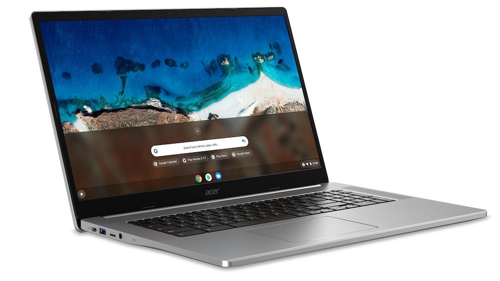 Acer Chromebook 317 vor weißem Hintergrund.
