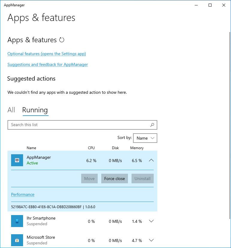 Screenshot 1 - AppManager (Windows-10-App)