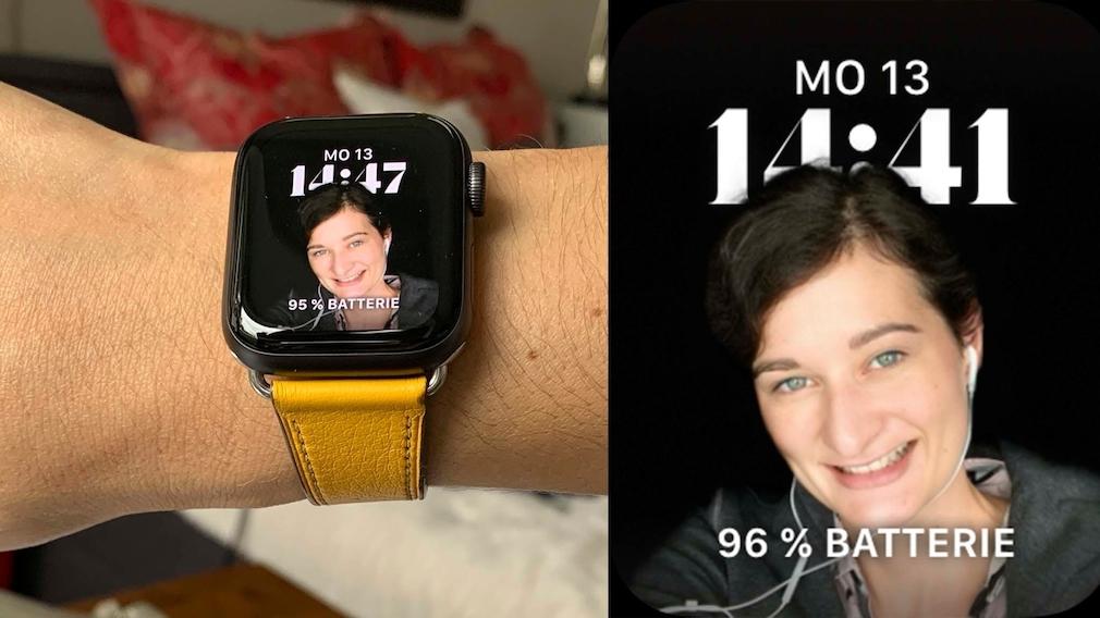 watchOS 8: Diese Neuerungen bringt das Apple-Watch-Update Wenn das Porträt mit dem Bühnenlicht-Effekt aufgenommen worden ist, fügt es sich gut in den schwarzen OLED-Screen ein.