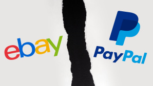 Ebay- und PayPal-Logo mit zerrissenem Papier in der Mitte©ebay, PayPal, iStock.com/Aliaksandr Litviniuk