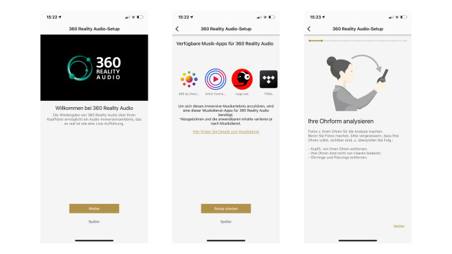 Sony WF-1000XM4 im Test: App 360 Reality Audio©Sony, Apple