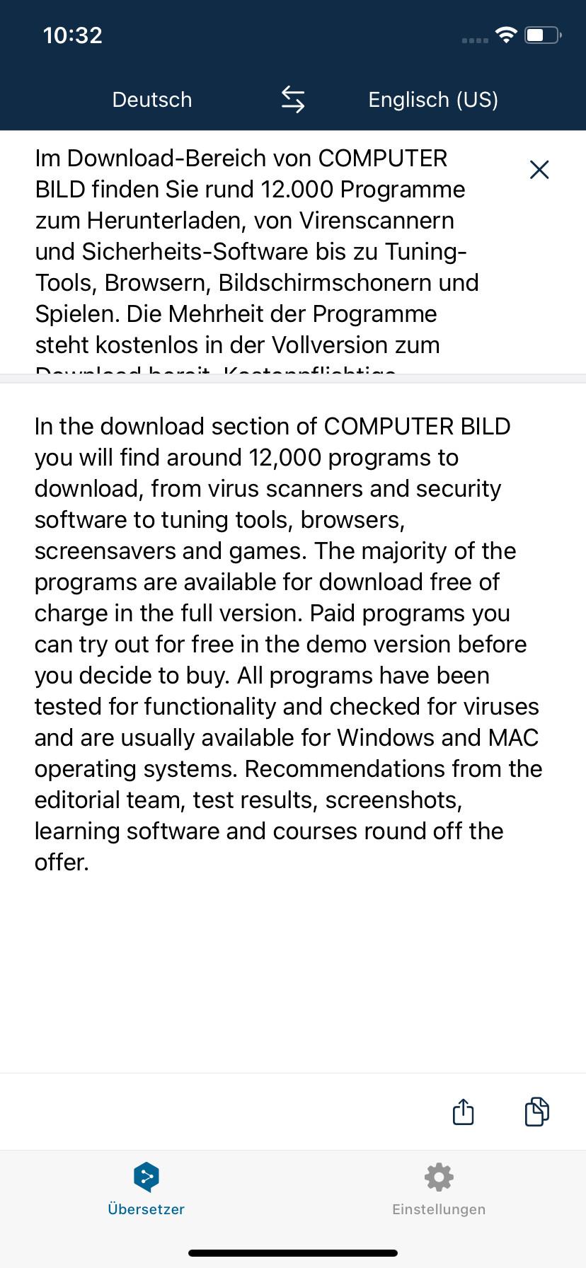 Screenshot 1 - DeepL (App für iPhone & iPad)