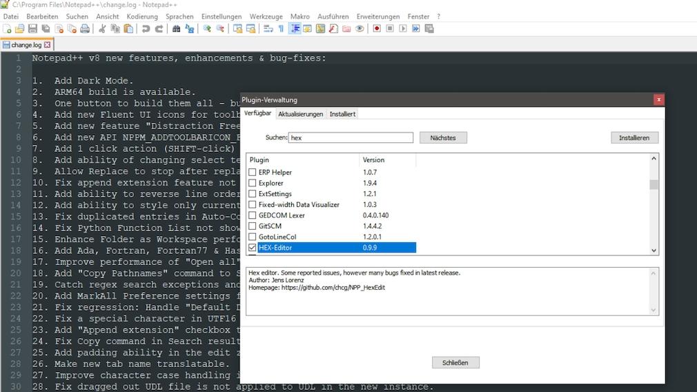 Bester Hex-Editor: Diese Hex-Viewer und -Editoren öffnen Dateien aller Art Die bei Notepad++ verfügbare Hex-Ansicht ist zunächst freizuschalten. Dafür bedarf es nur einer Handvoll Klicks.