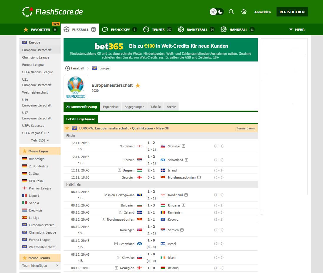 Screenshot 1 - FlashScore.de: Fussball Live-Ticker