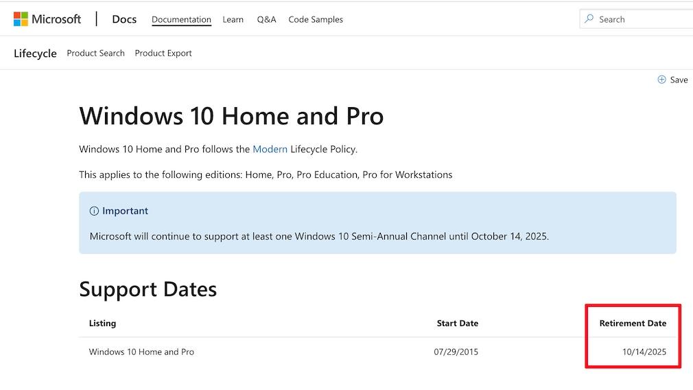 Windows 10 Supportende