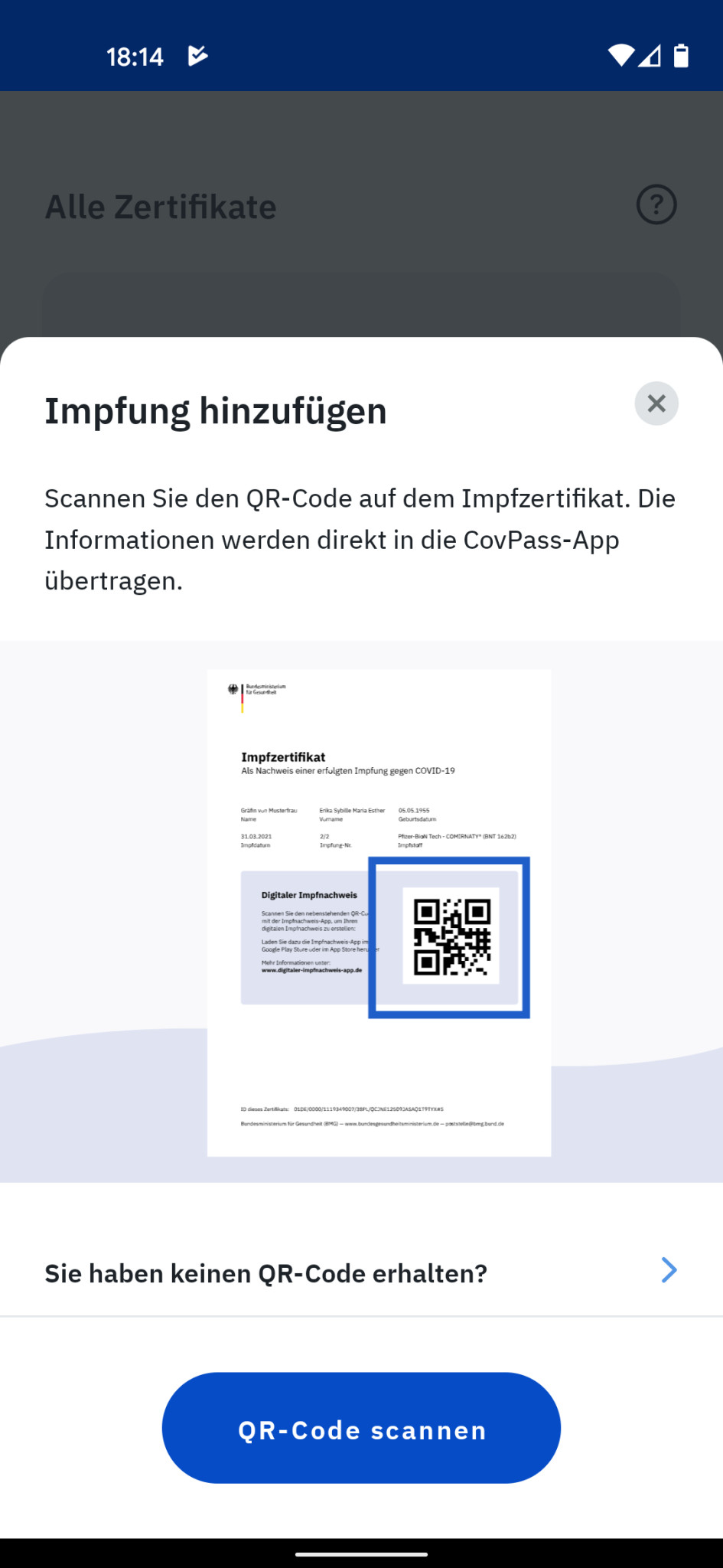 Screenshot 1 - CovPass (Android-App)