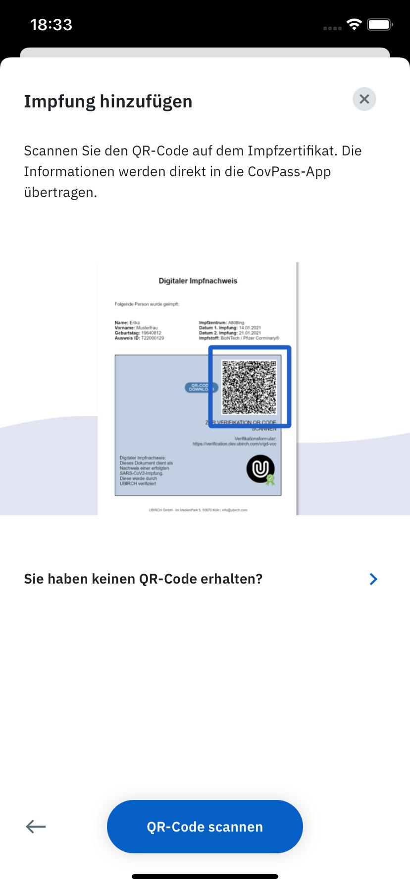 Screenshot 1 - CovPass Check (iPhone-App)
