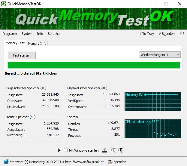 Screenshot 1 - QuickMemoryTestOK Portable