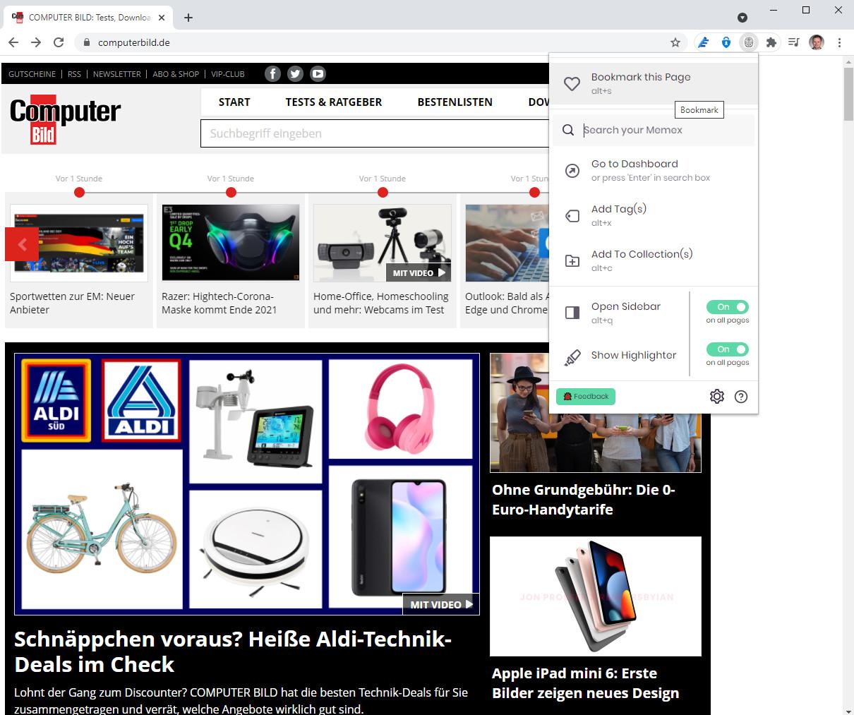 Screenshot 1 - WorldBrain's Memex für Chrome
