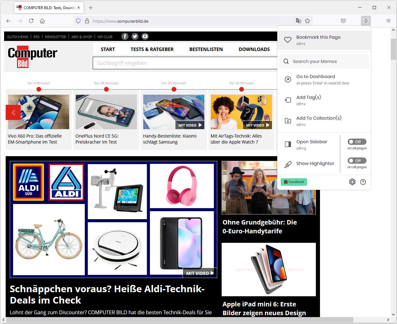 Screenshot 1 - WorldBrain's Memex für Firefox