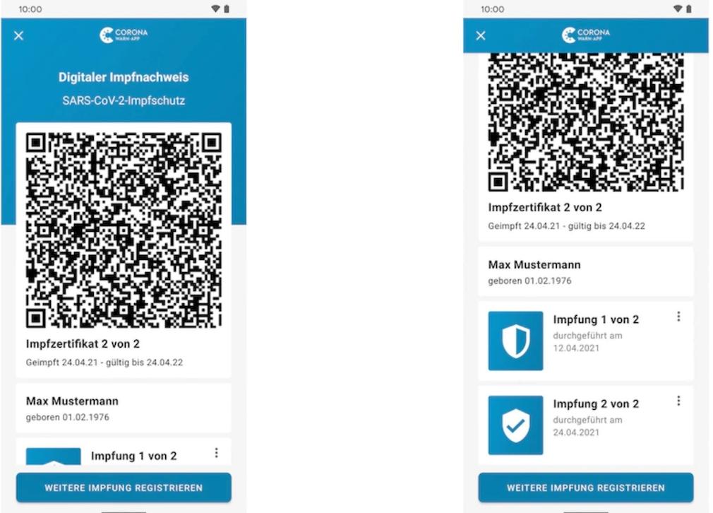 Corona-Warn-App mit Impfzertifikat