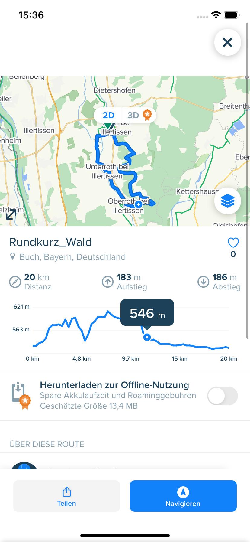 Screenshot 1 - Bikemap: Fahrradkarte & Navi (App für iPhone & iPad)