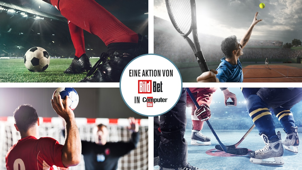 10-Euro-Gratiswette BildBet Logo Szenen aus Handball, Fußball, Tennis, Eishockey