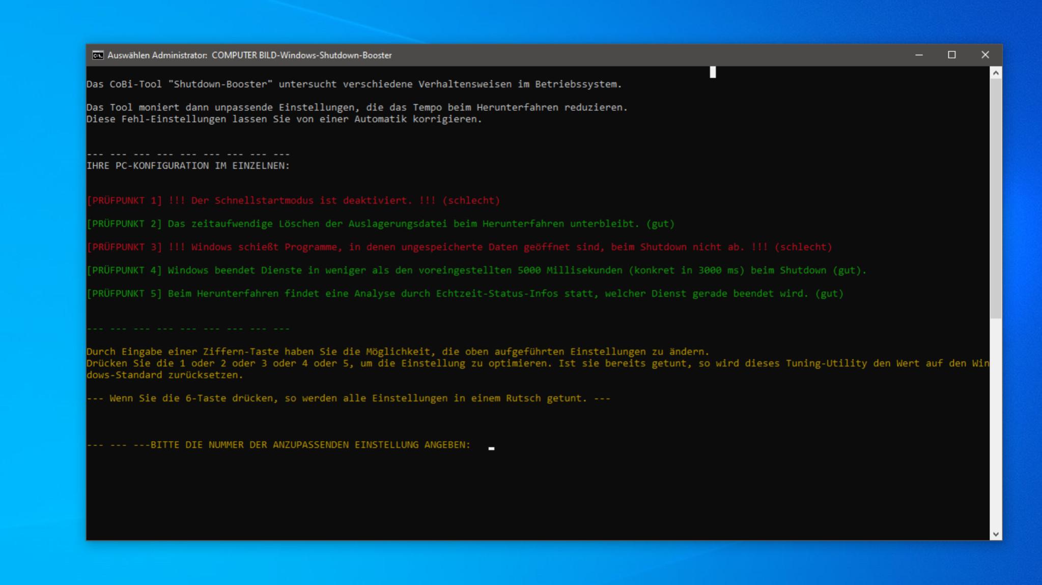 Screenshot 1 - COMPUTER BILD-Windows-Shutdown-Booster