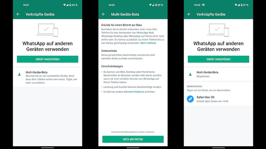 WhatsApp auf mehreren Geräten