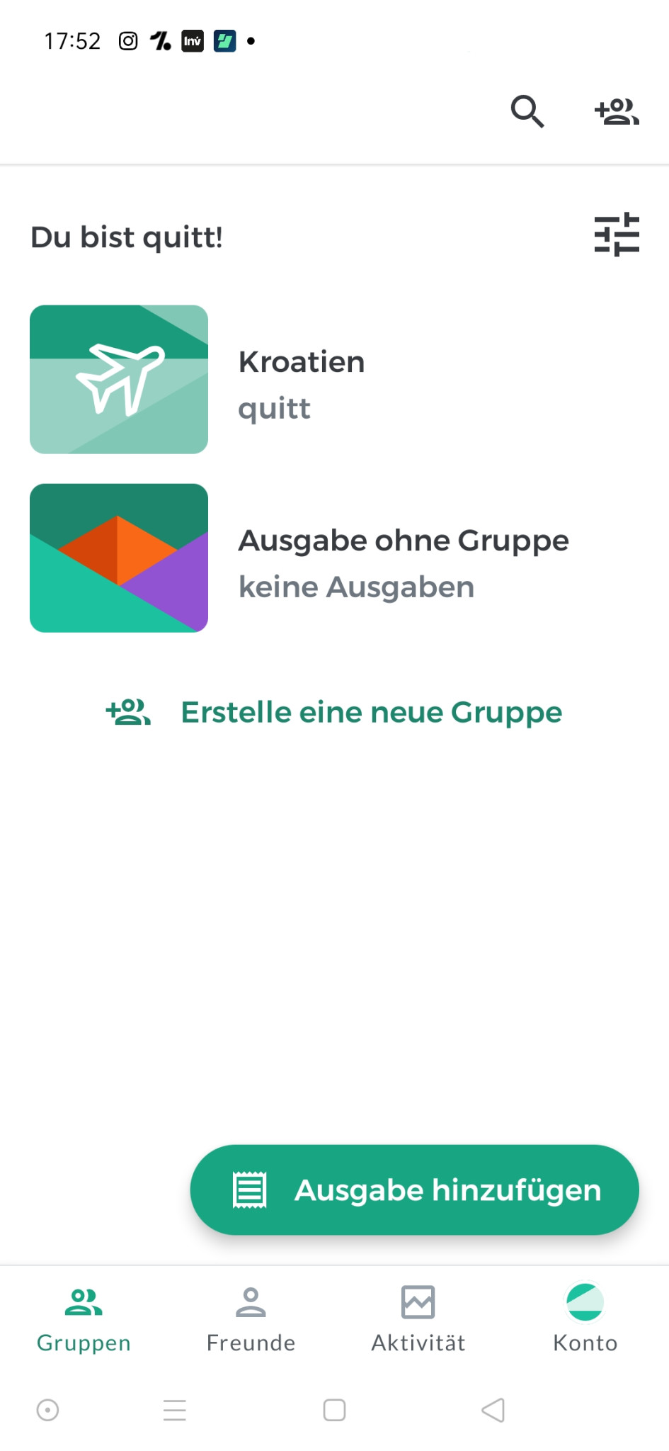 Screenshot 1 - Splitwise (Android-App)