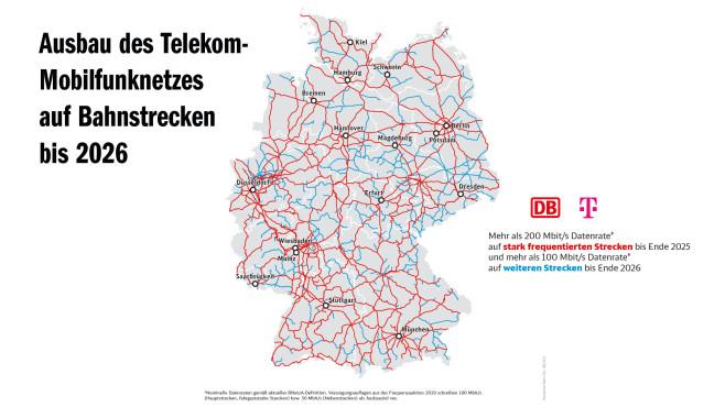 Telekom-Plan zum Netzausbau an Bahnstrecken bis 2026©Deutsche Bahn
