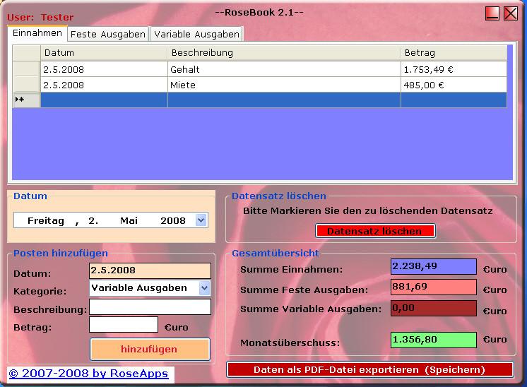 Screenshot 1 - RoseBook