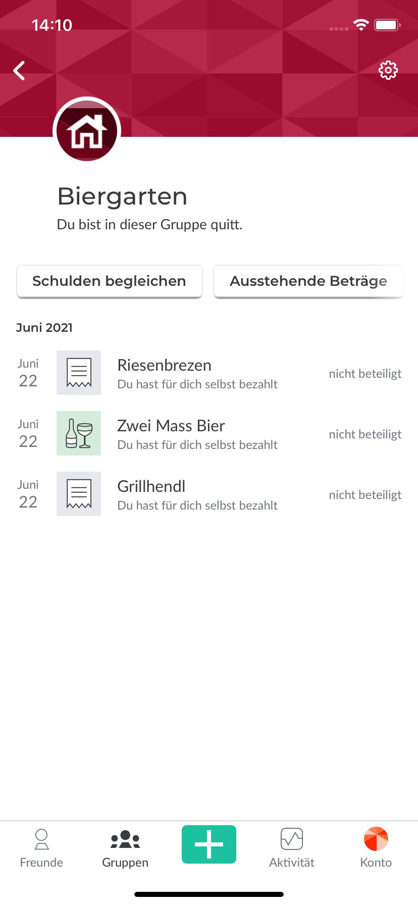 Screenshot 1 - Splitwise (App für iPhone & iPad)