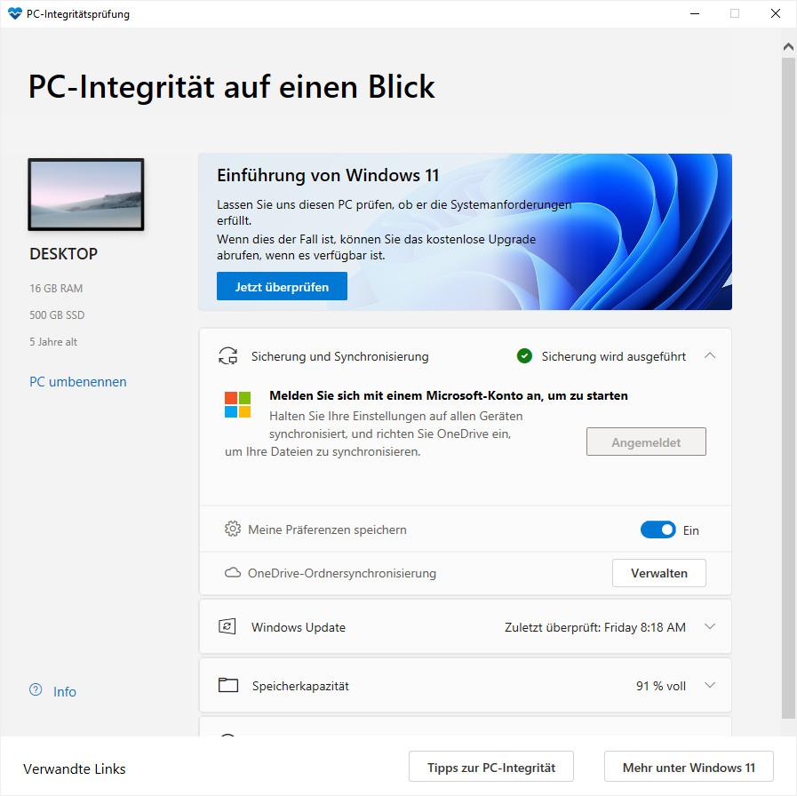 Screenshot 1 - Windows PC Health Check: Windows-11-Test-Tool