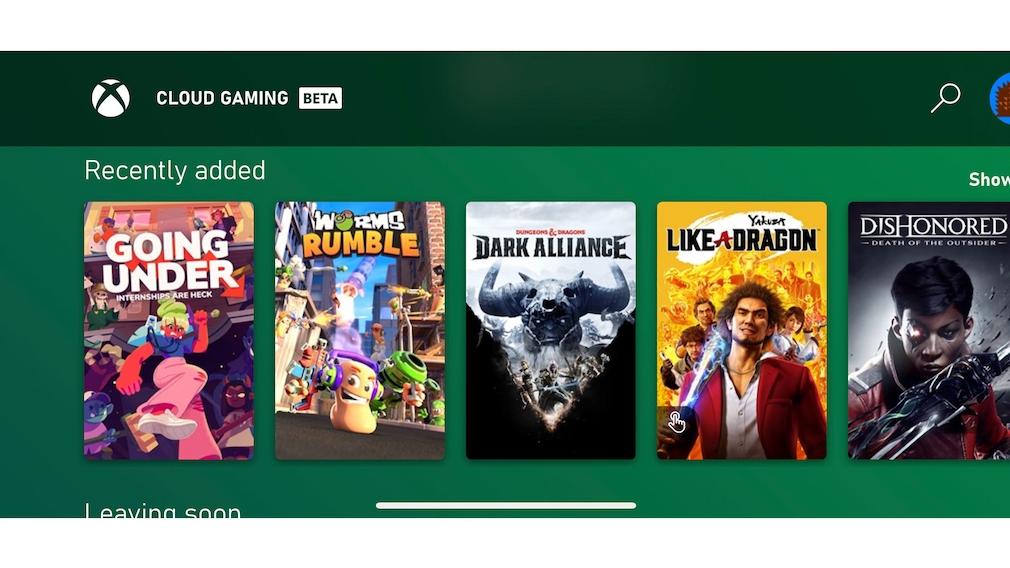 Screenshot der Xbox-Cloud-Gaming-Web-App