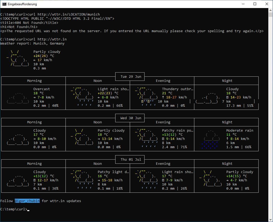 Screenshot 1 - cURL