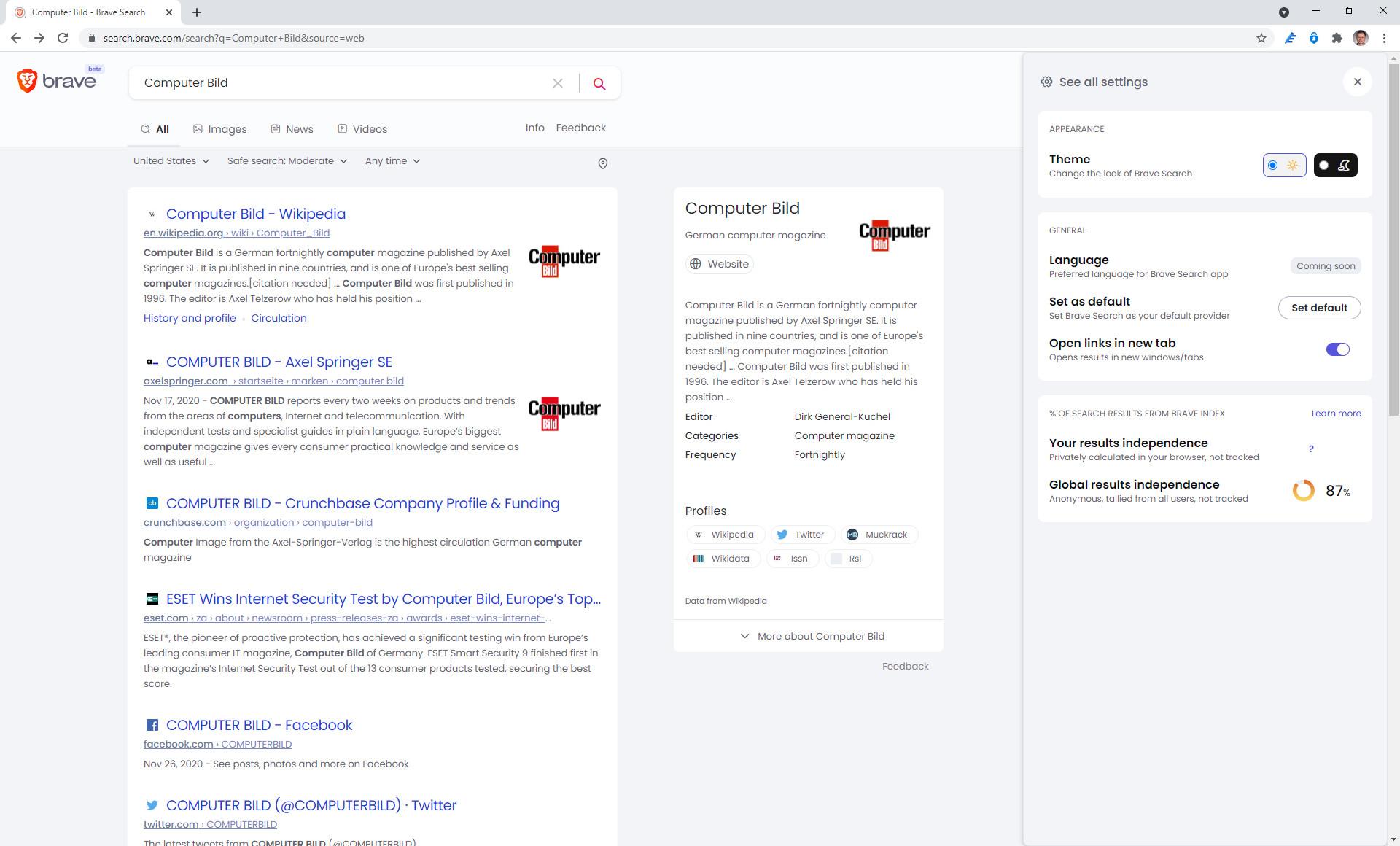 Screenshot 1 - Brave Search