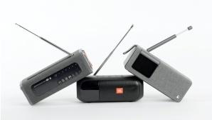 Die drei Kontrahenten: Grundig Band (links), JBL Tuner 2 (Mitte), Hama DR200BT©Grundig, Hama, JBL