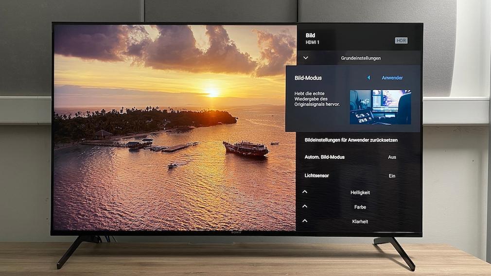Im Menü bietet der Sony X90J zahllose Möglichkeiten zum Bild-Tuning, die wichtigste Einstellung: Bild-Modus Anwender.