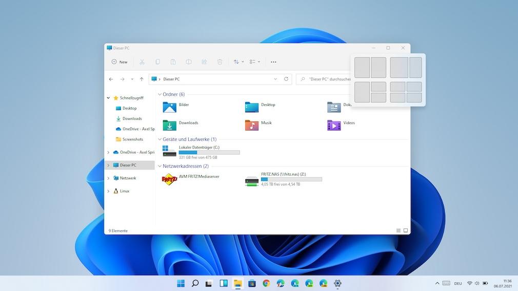Windows 11: Snap-Assistent (WIN+Z)