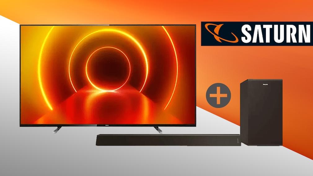 Philips-Deal bei Saturn: Zum 55PUS7805/12 Smart-TV gibt's eine Soundbar geschenkt