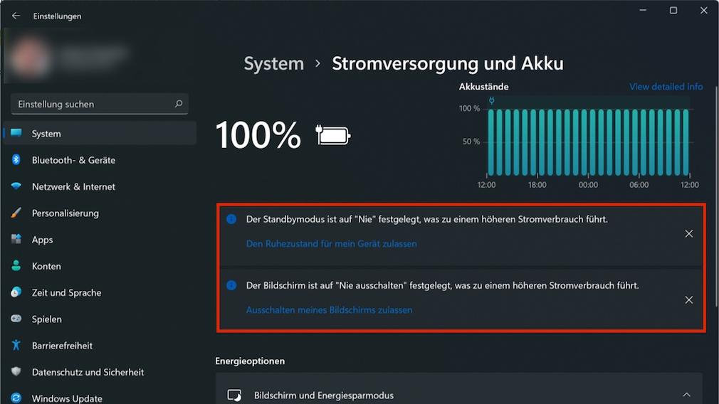 Screenshot: Empfehlungen in Windows 11-Einstellungen