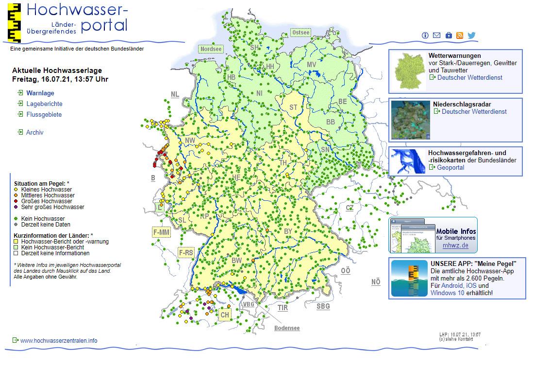 Screenshot 1 - Hochwasser-Karte