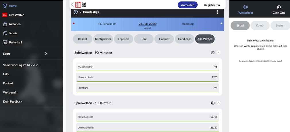 Sportwetten Bildbet HSV Schalke 2. Liga