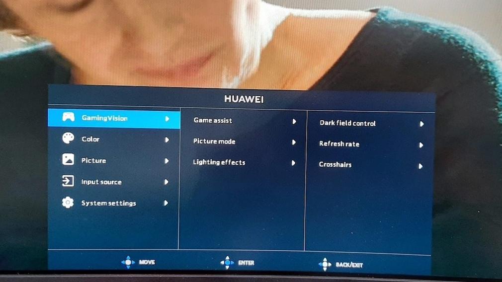 Das Einstellungsmenü des Huawei MateView GT