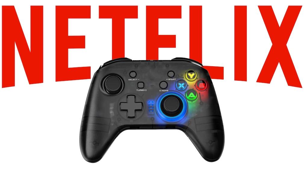Netflix-Logo mit Game-Controller