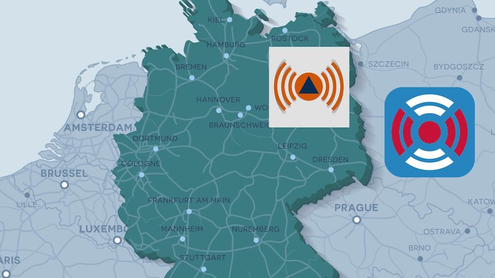 Deutschland-Karte mit Warn-App-Symbolen von NINA und BIWAPP