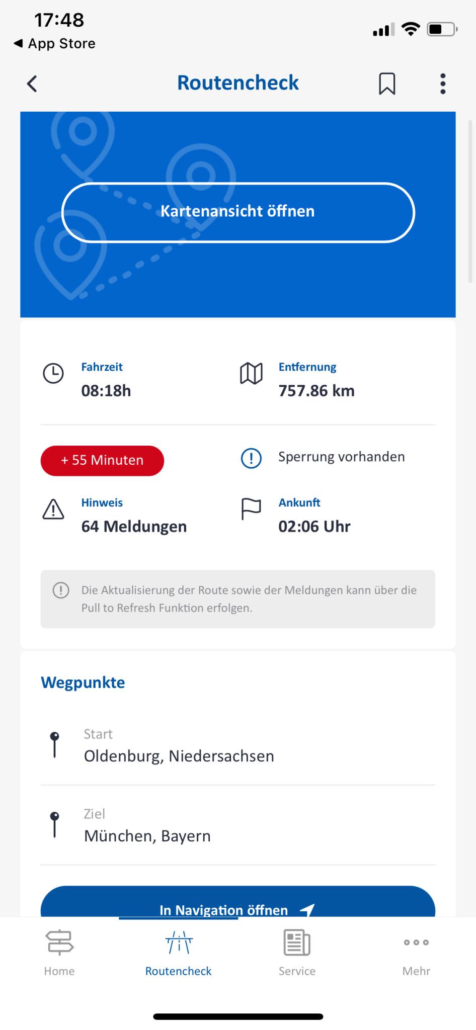 Screenshot 1 - Autobahn App (iPhone-App)