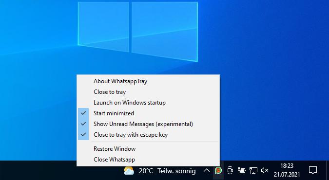 Screenshot 1 - WhatsApp Tray