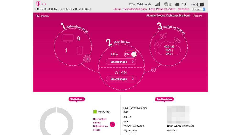 Telekom Speedbox: Menü