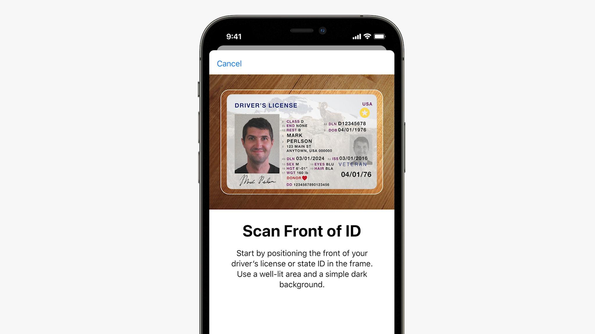 Apple: Selfies sollen Ausweis und Führerschein im Wallet validieren