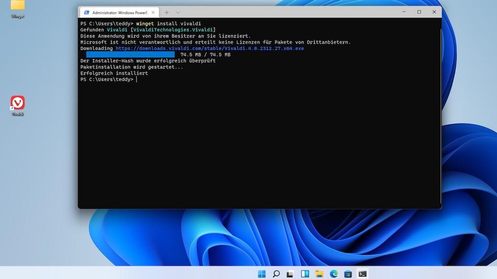 Windows 11: winget – Tutorial, Programme einfach wie nie installieren winget install vivaldi schafft im Beispiel innerhalb von Sekunden Vivaldi herbei. Sodann ist Microsoft Edge nicht mehr der einzige Webbrowser auf dem PC.